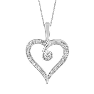 10K White Gold 1/4 CT.TW. Diamond Heart Pendant