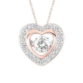 10K Two Tone Rose and White Gold 1/4 CT.TW Moving Diamond Heart Pendant