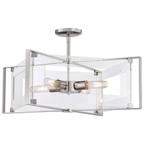Crystal Clear Polished Nickel 4 Light Semi Flush (Convertible To Pendant)By George Kovacs