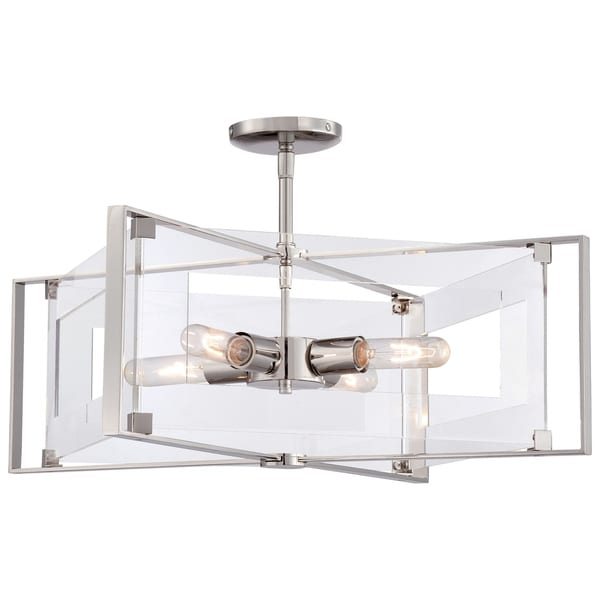 Minka Kovacs Crystal Clear 4 Light Semi Flush (Convertible To Pendant)