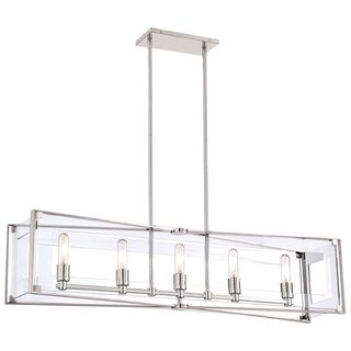 Minka Kovacs Crystal Clear 5 Light Island Light - Silver