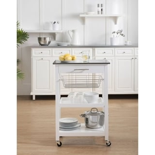 Sunjoy Linden White Kitchen Cart