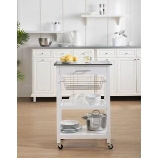 Sunjoy Linden White Kitchen Cart