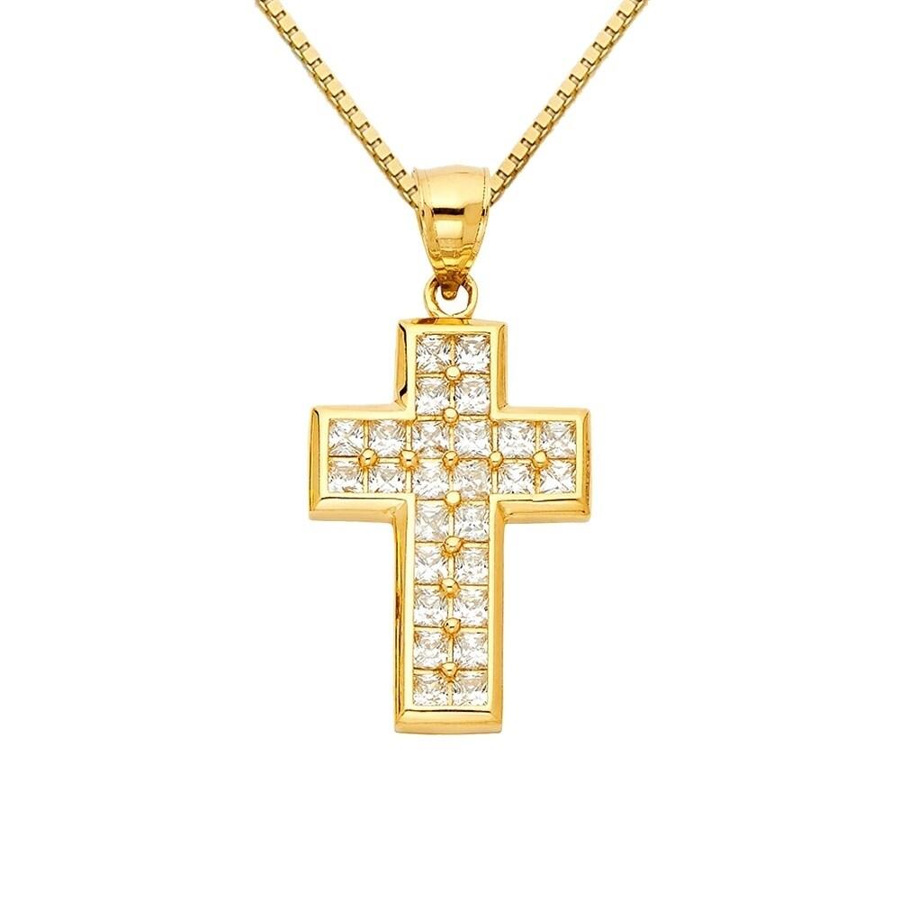 14k Yellow Gold and CZ Cross Pendant
