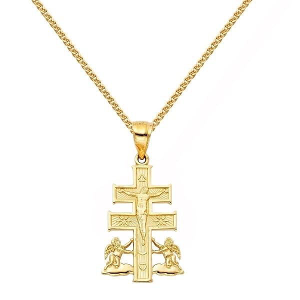 3d97c89609e178 Shop 14k Yellow Gold Caravaca Cross Pendant and Wheat Chain Necklace ...