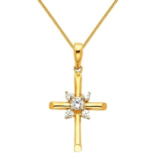 14k Yellow Or White Gold Cubic Zirconia Cross Pendant And Wheat Chain Necklace