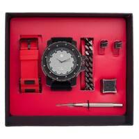 Techno Pave Mens Interchangeable Band+Bracelet+Ring Gift Set - Black