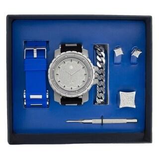 Techno Pave Mens Interchangeable Band,Bracelet&Ring Gift Set - Black