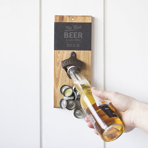 Open Beer Slate & Acacia Wall Mount Bottle Opener with Magnetic Cap Catcher