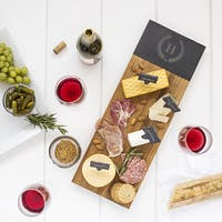 Personalized Acacia & Slate Charcuterie Serving Board with Slate Markers