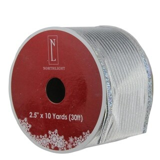 """Shimmery Silver Horizontal Wired Christmas Craft Ribbon 2.5"""" x 120 Yards"""