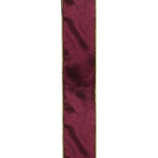 "Solid Wine Red Gold Wired Christmas Craft Ribbon 2.5"" x 120 Yards"