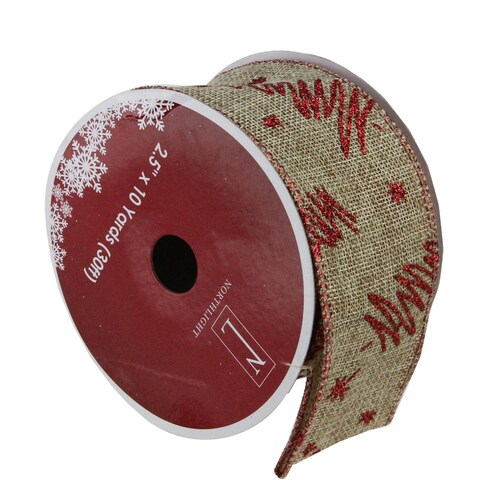 "Red Tree and Beige Burlap Wired Christmas Craft Ribbon 2.5"" x 120 Yards"