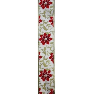 "Red Poinsettia Print Gold Wired Christmas Craft Ribbon 2.5"" x 120 Yards"