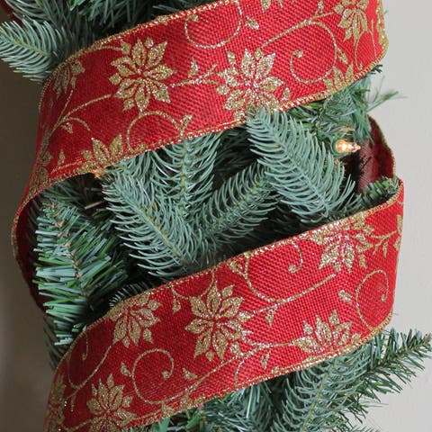 "Cranberry Red and Gold Poinsettia Burlap Wired Christmas Craft Ribbon 2.5"" x 120 Yards"