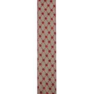"Connecting The Dots Red and White Diamond Wired Christmas Craft Ribbon 2.5"" x 120 Yards"