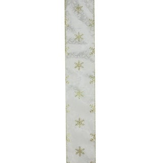 "Twinkling Gold Star Printed White Wired Christmas Craft Ribbon 2.5"" x 120 Yards"
