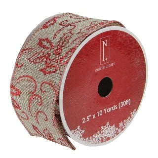 "Holly Red and Beige Burlap Wired Christmas Craft Ribbon 2.5"" x 120 Yards"