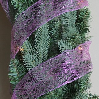 "Glittering Purple Wired Christmas Craft Ribbon 2.5"" x 120 Yards"
