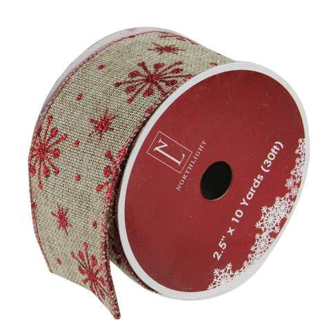 "Red Snowflake and Beige Burlap Wired Christmas Craft Ribbon 2.5"" x 120 Yards"