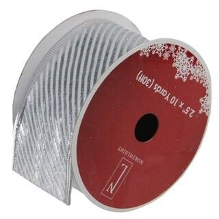 "Shiny Silver Diagonal Striped Wired Christmas Craft Ribbon 2.5"" x 120 Yards"