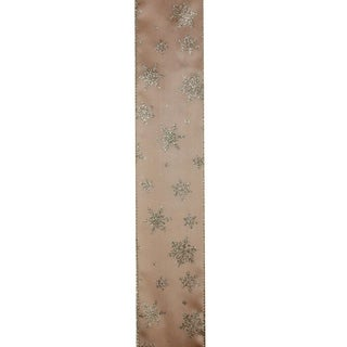 """Sparkling Gold Stars Wired Christmas Craft Ribbon 2.5"""" x 120 Yards"""