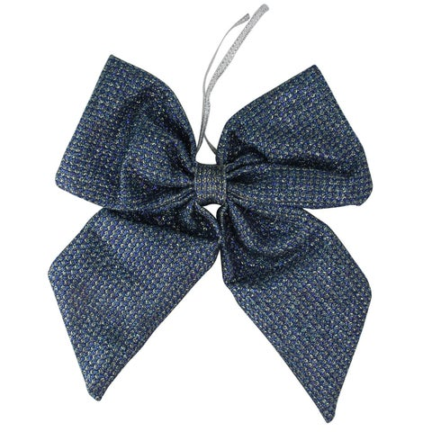 """7.25"""" Large Cool Blue Double Loop Christmas Bow Decoration"""