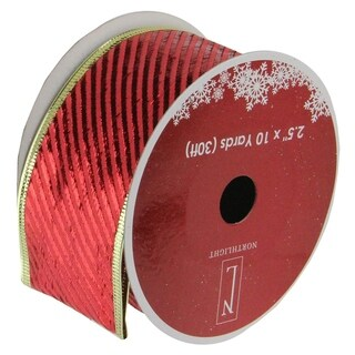 "Shiny Red Diagonal Striped Gold Wired Christmas Craft Ribbon 2.5"" x 120 Yards"