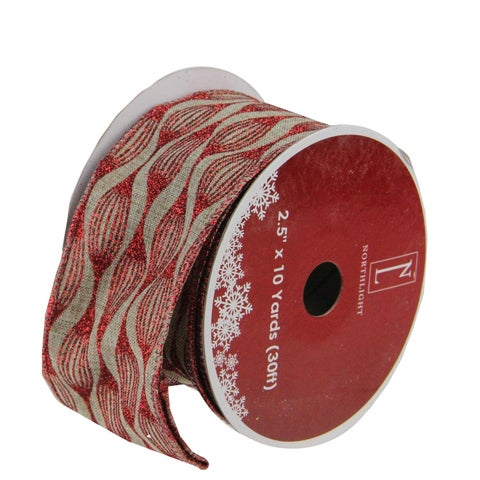 """Faded Rustic Red and White Ikat Wired Christmas Craft Ribbon 2.5"""" x 120 Yards"""