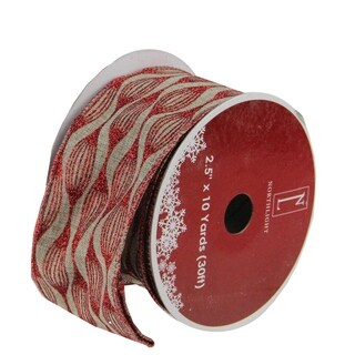 "Faded Rustic Red and White Ikat Wired Christmas Craft Ribbon 2.5"" x 120 Yards"