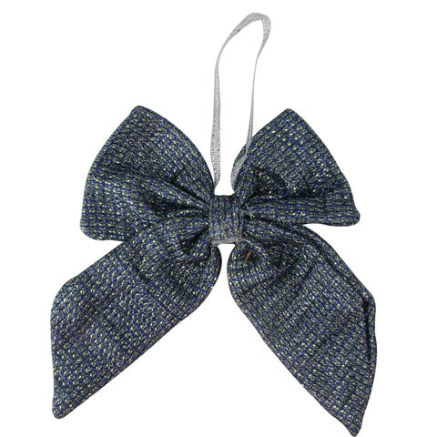 """5.25"""" Small Cool Blue Double Loop Christmas Bow Decoration"""