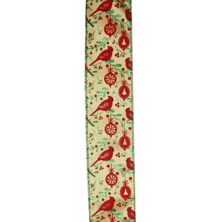 "Honey Mustard Orange with Red Cardinals Wired Christmas Craft Ribbon 2.5"" x 120 Yards"