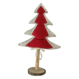 """14"""" Red and Neutral Decorative Christmas Tree with Wooden Base Tabletop Decoration"""