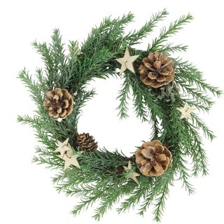 """11"""" Classic Pine with Pine Cones and Stars Christmas Wreath - Unlit"""