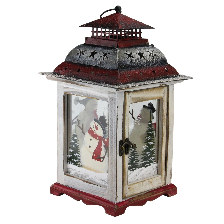 14 5 Holiday Snowman Metal And Wood Decorative Christmas Pillar Candle Lantern Overstock 18071810