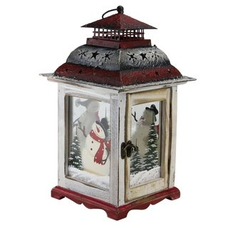 "14.5"" Holiday Snowman Metal and Wood Decorative Christmas Pillar Candle Lantern"