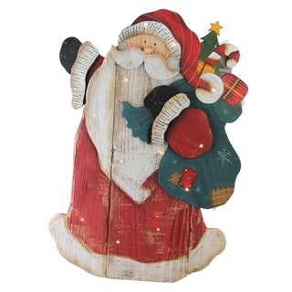 """19.5"""" Wooden Standing Santa Claus LED Lighted Christmas Decoration"""