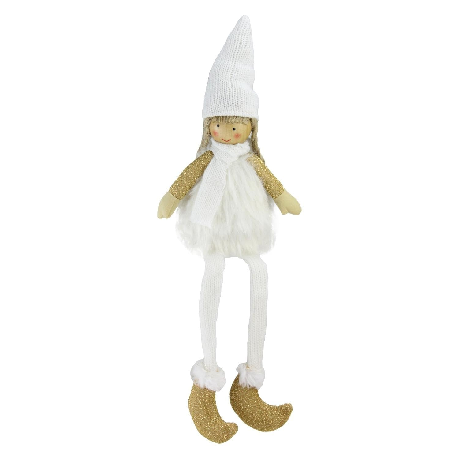 "16"" Sitting Girl with Hat Scarf and Dangling Legs Tableto..."
