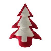"15"" Red and Neutral Decorative Christmas Tree Weighted Base Tabletop Decoration"