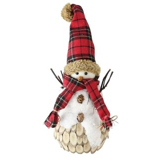"""13.5"""" Holiday Moments Snowman with Red Plaid Scarf and Hat Christmas Table Top Decoration"""