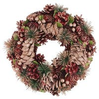 "13.75"" Dusty Rose Pine Cones and Berries Artificial Christmas Wreath - Unlit"
