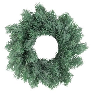 "10"" Traditional Frosted Green Pine Decorative Christmas Wreath"