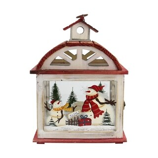 """14.5"""" Holiday Snowman Metal and Wood Decorative Christmas Candle Lantern"""