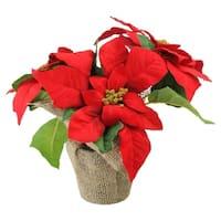 "10"" Artificial Red and Green Poinsettia Flower Arrangement in Burlap Vase"