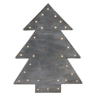 "17"" Small Lighted Black Tree Christmas Table Top Decoration"