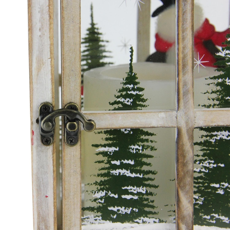 17 5 Holiday Snowman Metal And Wood Decorative Christmas Pillar Candle Lantern Overstock 18071870