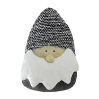 "8"" Gray and White Elegant Decorative Santa Head Gnome Tabletop Decoration"