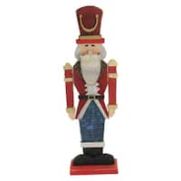 "21"" Red and Blue Painted Wooden Standing LED Decorative Nutcracker"