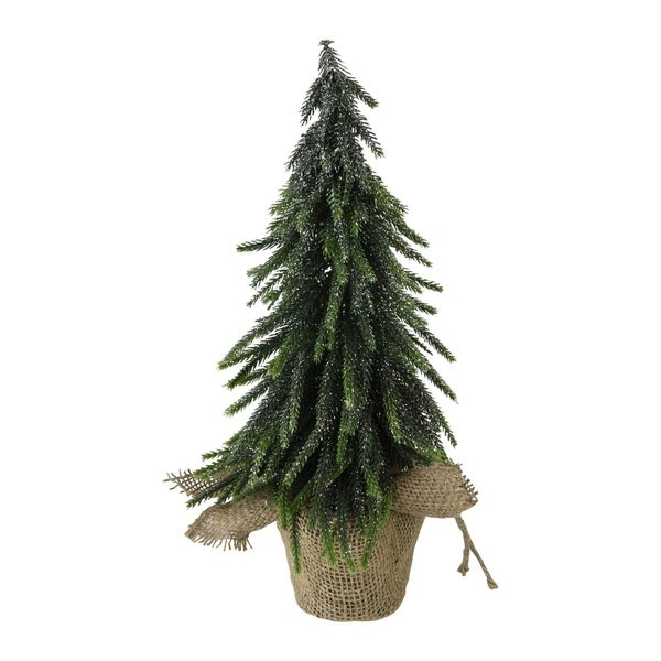 14 Silver Glitter Weeping Mini Pine Christmas Tree In Burlap