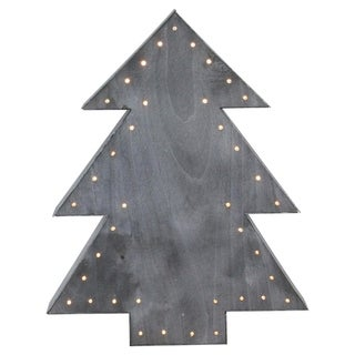 "19.75"" Large Lighted Black Tree Christmas Table Top Decoration"